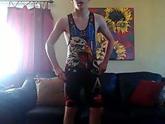 Jacking off with a wrestling singlet