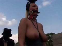 Light-haired Fetish-Slut Kathleen in bizzare Outdoors-Scene