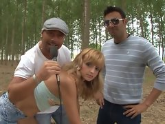 Justine analfucked in a forest