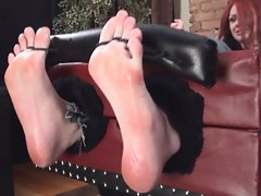 Big footed Punk young woman tickled