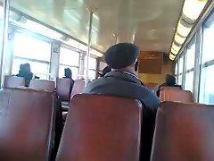 Flashing prick in suburban train