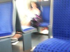 Train Flashing Sassy teen Lass And Cum