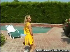 Cheerleaders Blows Phallus By The Pool