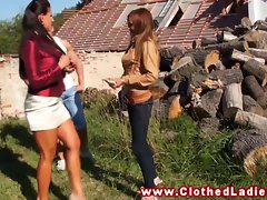 Glamourus threeway with stud whille outdoors together