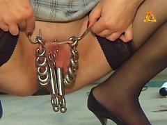 Heavy pierced granny with lost of pussy piercings slave vixen