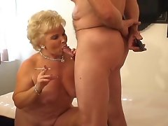 Filthy Blondie Granny Smoking Sex