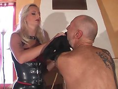 Whipping a slave locked in chastity