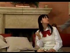 Seductive japanese AV bombshell delights a 3some!