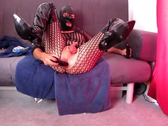 Butthole toy fuck, fellatio in thigh boots and catsuit