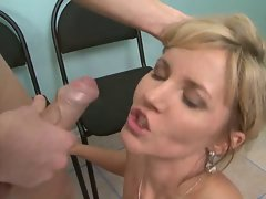 Luscious office filthy bitch wears jizz on her face