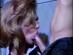 Vintage tempting TV hussy caresses penis in the cell