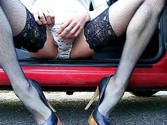 Wanking wearing heels and stockings