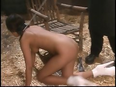 Lass in the barnyard gets a natural BDSM playtime