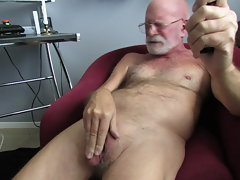 Bald Dad Man-clit Caress & Jism