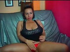 Latina camwhore flashes her mega big melons 3