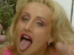Blondie takes 3 filthy jizm shots
