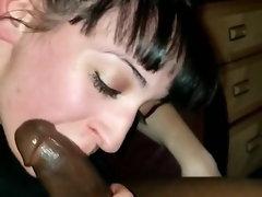 Nice looking better half sucks this happy big black cock