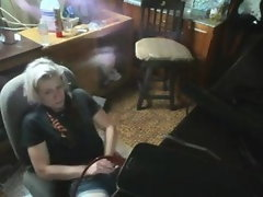 Filthy short haired blond crank screws her pussy in the barn