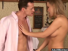 Filthy Blond Has A Taste Of The Waiter