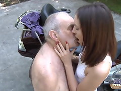 Grandpa screws 18yo pussy so tense and moist ready for cum