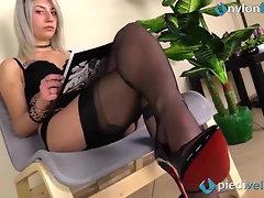 Fully fashioned RHT stockings feet and shiny black high heel