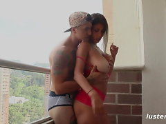Fit First-timer Duo Luxuriate Romp on the Balcony - Lustery