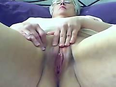 Old bitch masturbates on web cam