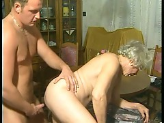 Young man bangs this old horny granny