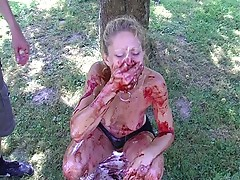 Babe showered with blood and cum