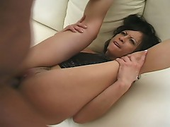 Black and white cock for sweet Asian pussy