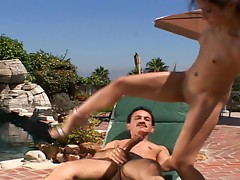 Young slut fucks older dude, poolside!