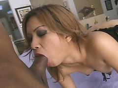 Asian babe takes hardcore anal sex