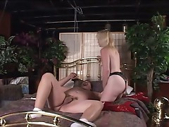 Nasty blonde milf fucking dude with strapon