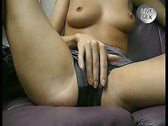 Skinny chick rubs sweet pussy in solo scene