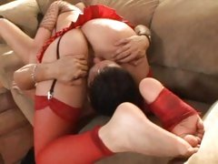 A sweet sixty nine and a footjob from Annette Schwarz
