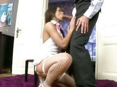 Gorgeous Jessica Koks wraps her lips round a stiff dick