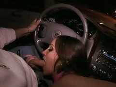 Lusty Latina Lynn Love sucks cock in a car