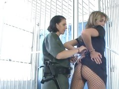 Randy prison officer gropes Roxanne Hall's ass