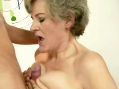 Raunchy bitch gets splattered with warm cock juice
