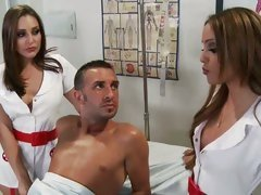 Sexy nurses Melanie Jane & Gracie Glam have a threesome