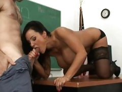 Alluring Lisa Ann gobbles down this tasty prick