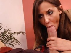 Brunette Madison Ivy gets her mouth round a thick one