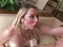 Cum craving tranny loves getting drenched in hot cum
