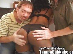 Ebony Freak Mama's Group Sex Tampa Bukkake Tryout!