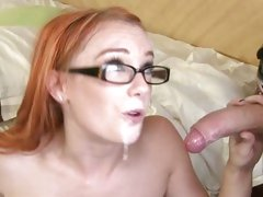 Amazing Dani Jensen gets her specks cum splattered