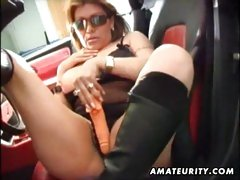Busty mature amateur wife toys ass and pussy with toys