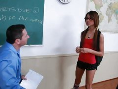 Horny schoolgirl Veronica Rodriguez sucks her teacher