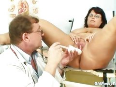 Mature Daniela has her huge tits checked by gyno doctor