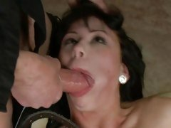 Red hot Brooklyn Lee gobbles down this pork sword