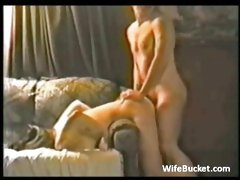 Redneck couple amateur sex bent over the sofa